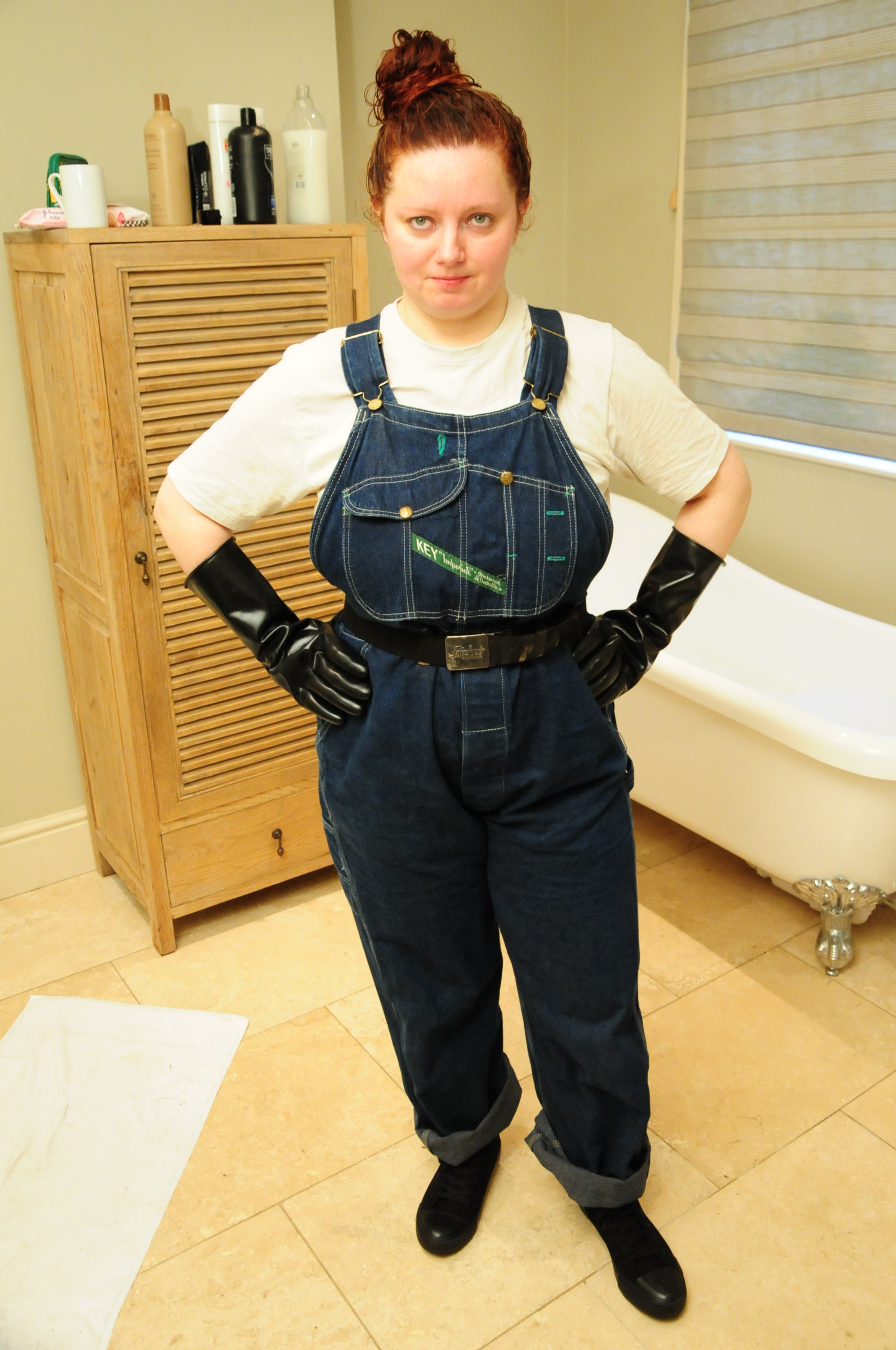 Wet Dungarees Girl Cynthia Wears Her Denim Overalls In