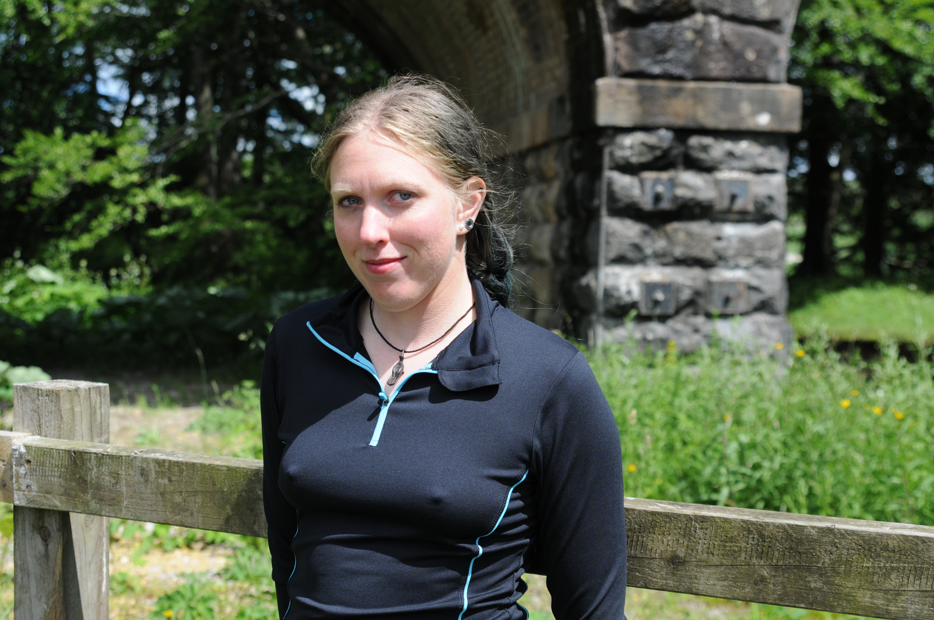 the watery workout - purity goes swimming in a ladies running outfit